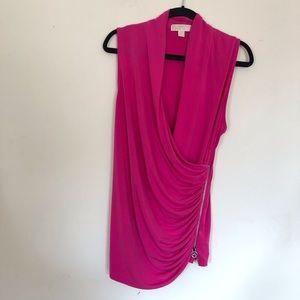 Michael Kors XL faux wrap pink sleeveless blouse